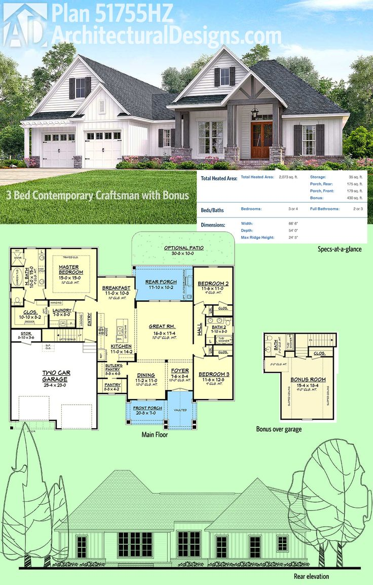 Architectural Designs House Plan 51755HZ Is A 3 Bed Contemporary Craftsman  Design With A Bonus Room Part 67