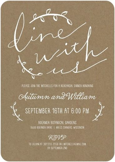 Dine with Us - Signature White Rehearsal Dinner Invitations - Picturebook - Black : Front