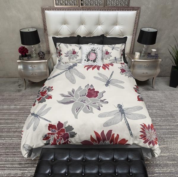 Dragonfly and Red Flower Duvet Bedding Sets