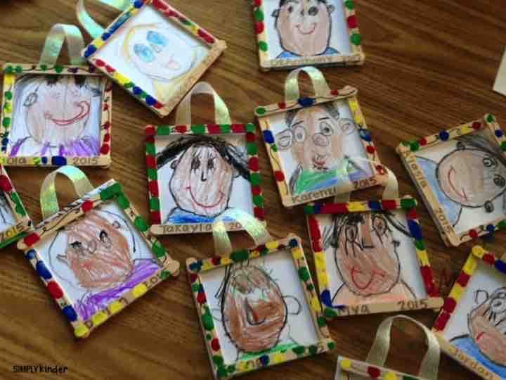 Self Portrait Ornaments make an adorable little keepsake for your students to give their families for the holidays!