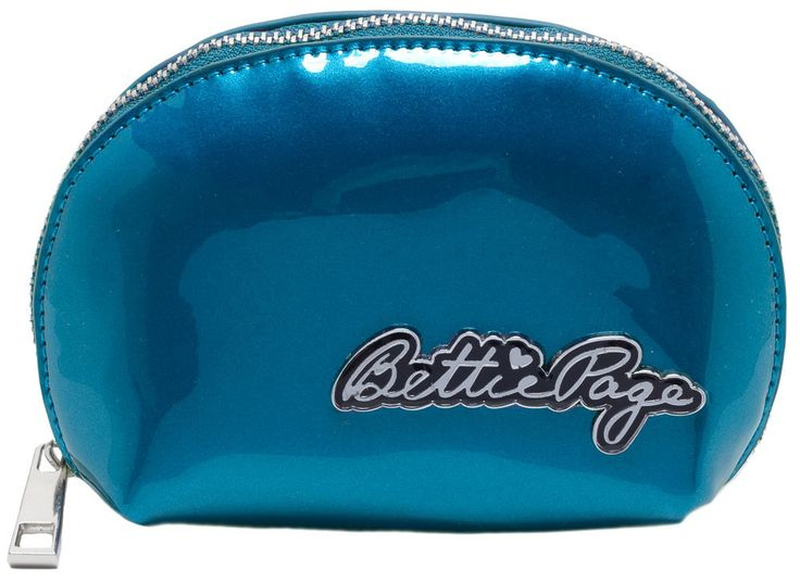 SOURPUSS BETTIE PAGE MAKEUP BAG BLUE - Tote your cosmetics in this little pouch, inspired by your favorite blue-eyed pinup! This Bettie Page Makeup Bag can accompany any of our Bettie Page Purses! Made of a super glossy, stiff vinyl the bag holds its domed shape. With zippered-top, Bettie Page logo hardware, and printed fabric lining, this palm-sized bag is the perfect place to stash all of your little necessities.