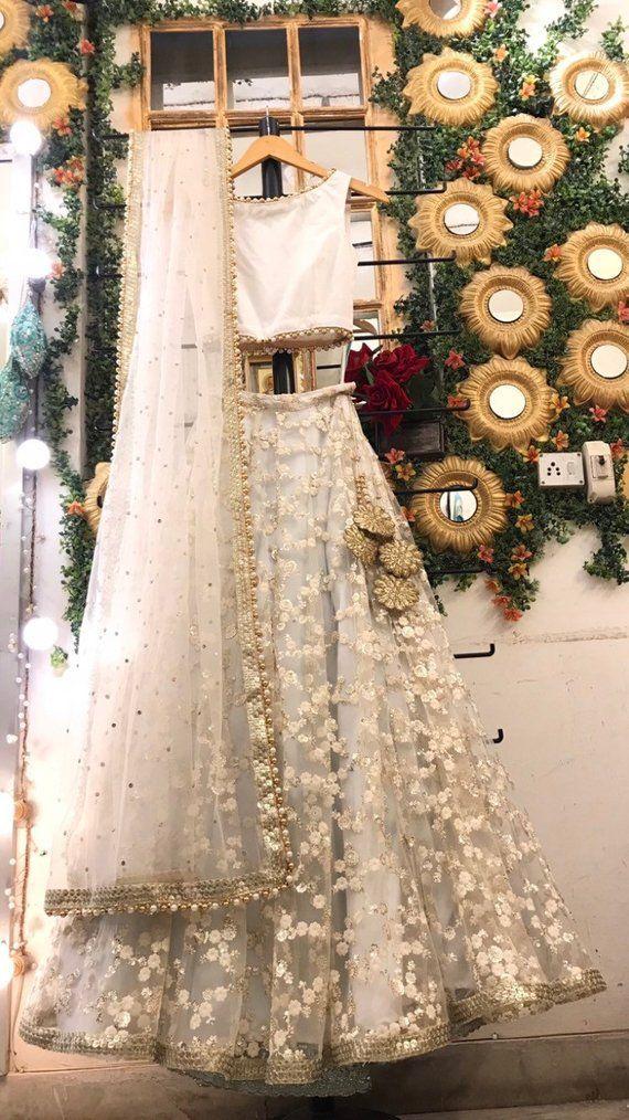 Off White bestickte Hochzeit Lehenga Braut Lengha …