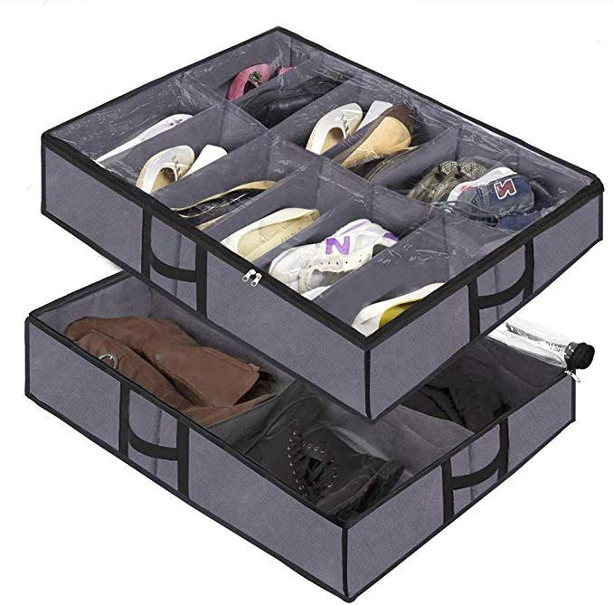 Under The Bed Shoe Organizer Fits 12 Pairs And 4 Pairs Boots