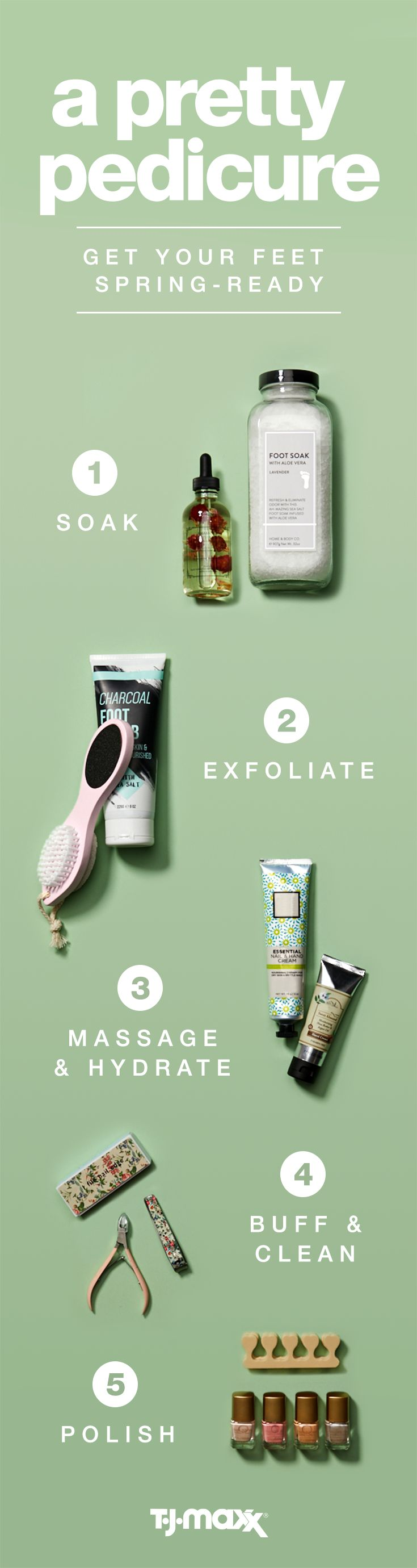 "Treat yourself to a DIY spring pedicure with all of the essentials. Relax with rejuvenating moisturizers or scrubs and top off your ""me time"" with spring-ready polish in a fun hue. It's the ultimate pre-spring spa day, without having to leave your living room. Shop your local T.J.Maxx or tjmaxx.com for more spa must-haves."