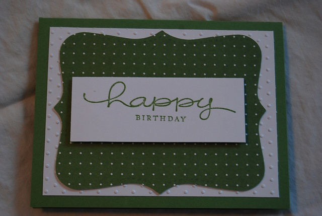 Simple Wasabi and white dots and top note. Stampin Up Birthday Card
