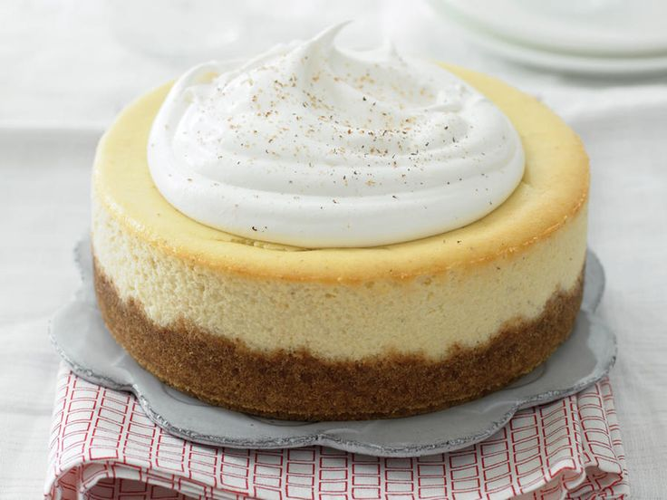 Feature a classic holiday beverages in a rich and creamy eggnog cheesecake that's ideal for the holidays.  But you can have it any time...