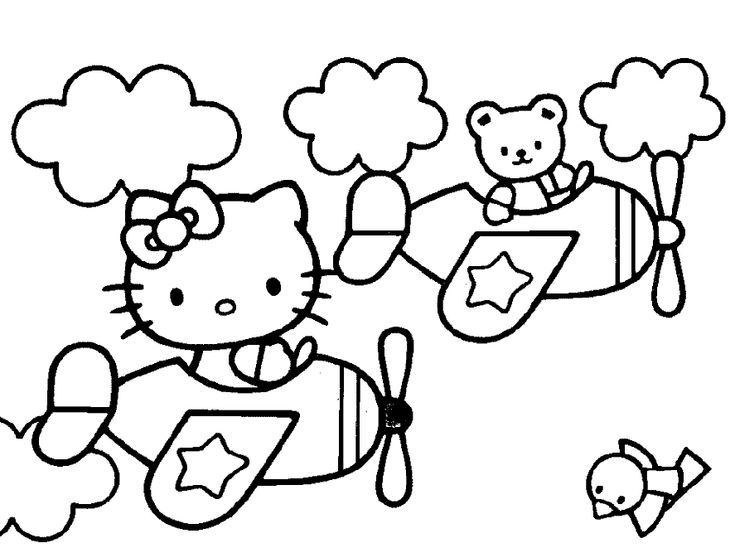 Hello Kitty Coloring Pages Airplane