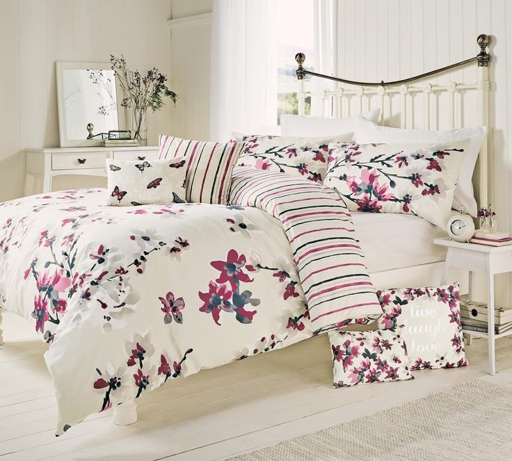 Seraphine- Cranberry Floral Print, Cotton Blend Duvet Cover / Quilt Set With Matching Pillowcases - SINGLE: Amazon.co.uk: Kitchen & Home