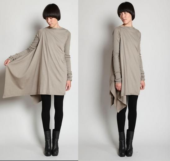 8164be2d8dd65 DIY Rick Owens tunic. It s in Russian but it s not hard to figure out how  to do this.