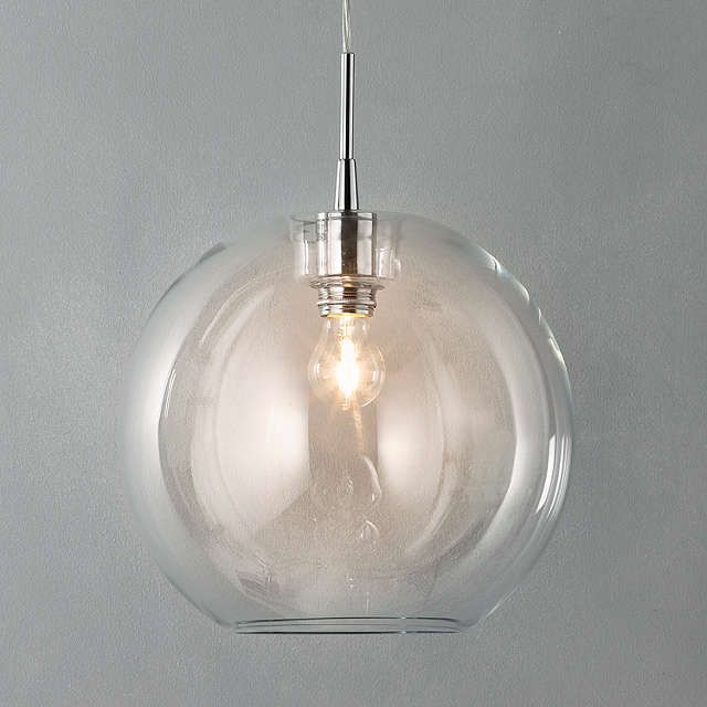 BuyBelid Gloria Glass Brass Pendant Light, Clear/Silver Online at johnlewis.com
