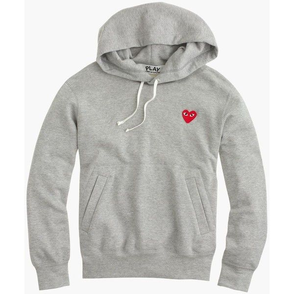 J.Crew Play Comme Des Garcons Pullover Hoodie ($400) ❤ liked on Polyvore featuring tops, hoodies, pullover hooded sweatshirt, white cotton hoodie, graphic hoodie, cotton hoodie and graphic pullover hoodies