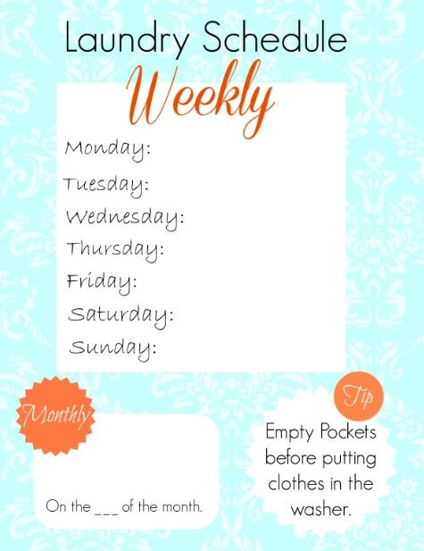 Here's an Easy Laundry Schedule FREE Printable to help you Organize and Simplify your life!