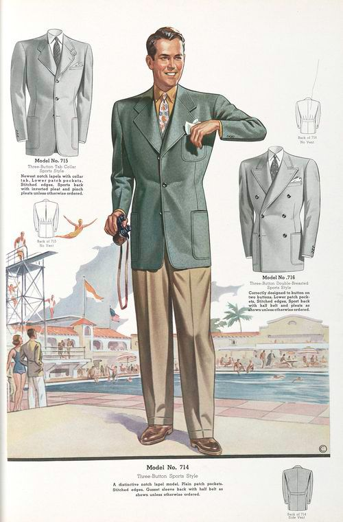 1940s, Model No. 714. Three-button sports style. Newest Styles for Men. New York Public Library Online Collection, USA.