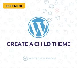 Create-a-Child-Theme Service Description  Select the themes that suits your business. Or customize your favorite theme to your business needs and your taste. But before doing any customizations it is always wise to create a child theme. It is always recommendable, it also helps you to update customized theme without losing the files and customization you made.  What you get with this service:  A child theme for your existing WordPress theme Benefits of child theme  Safe updates without…