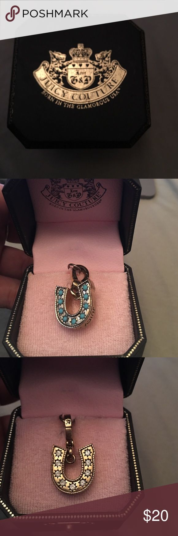 Gold tone Rare Juicy Couture horseshoe charm For sale I have a rare Juicy Couture gold tone horseshoe charm. All beading and jewels intact. Authentic comes in original box. Juicy Couture Jewelry Bracelets