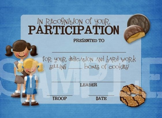 The 25 best participation award ideas on pinterest pinewood girl scout cookie printables girl scouts cookie participation award certificate flickr photo yadclub Images