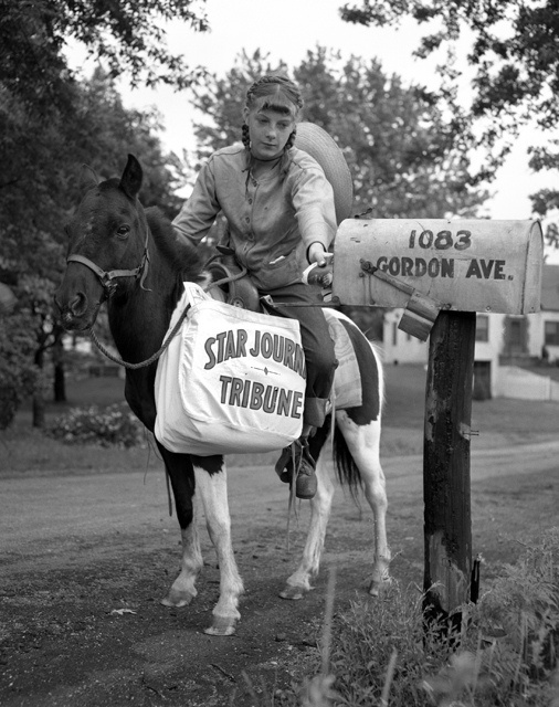 Newspaper delivery by pony in Maplewood by Minnesota Historical Society, via Flickr