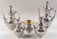 Click to enlarge image of Greco-Roman Sterling Silver Tea Set by Tiffany