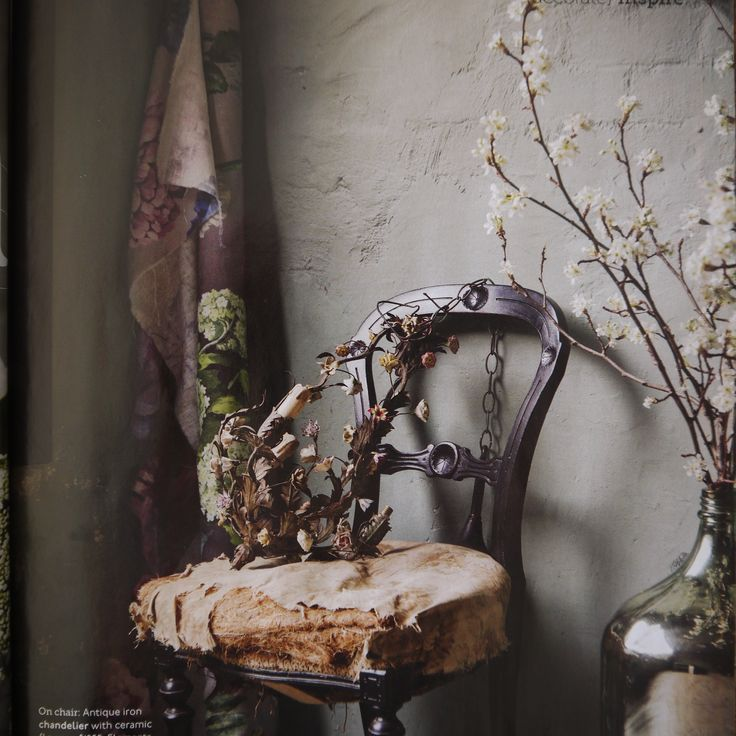 French chandelier, porcelain flowers beautiful styled by Claire Del Mar for Country Style