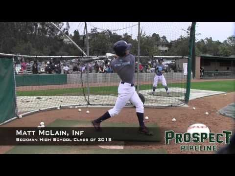 Matt McLain Prospect Video, Inf, Beckman High School Class of 2018 - IBOtube