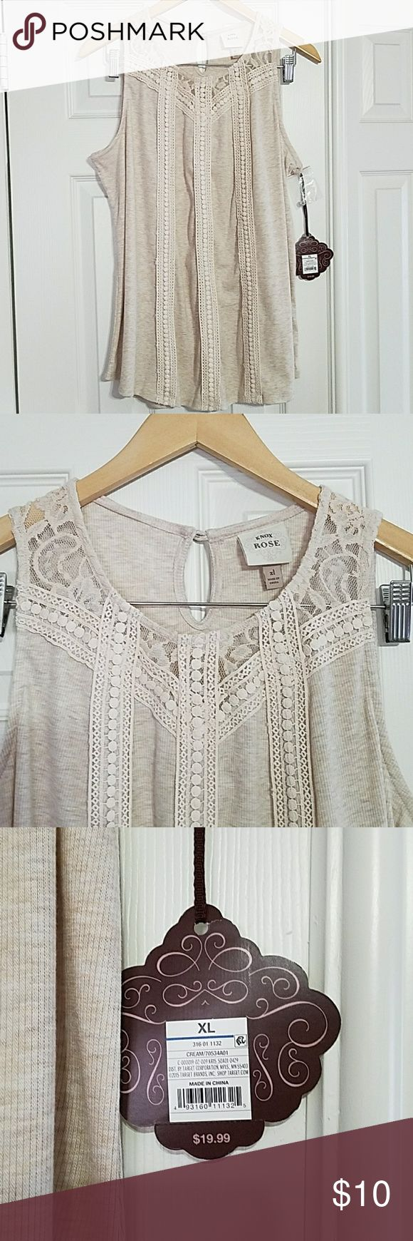 Pretty Beige Tank Top Pretty beige tank top, would be really cute with shorts,  jeans,  slacks,  anything.  NWT Knox Rose Tops Tank Tops