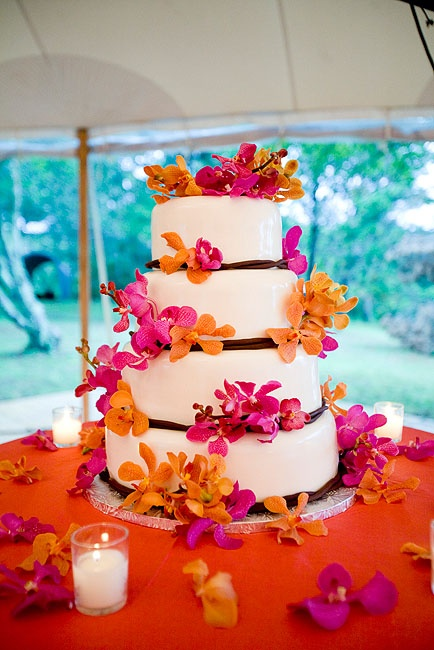 Malloy Events at Private Estate, Martha's Vineyard, MA. wedding cake with mokara orchids