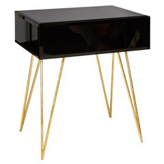 Worlds Away Debra Black Glass Side Table WADEBRABLG