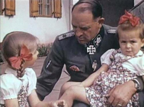 Sepp Dietrich with Goebbels' daughters, Helga and