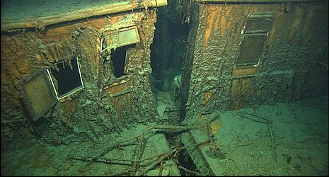 *TITANIC SHIPWRECK: The current condition of the Tiatinic wreck is deteriorating + very unstable. Scientists estimate that the extra damage caused by tourists will cause the ship to collapse to the ocean floor within the next 50 yrs. Most of the wood including the crows nest and mast have completely deteriorated.