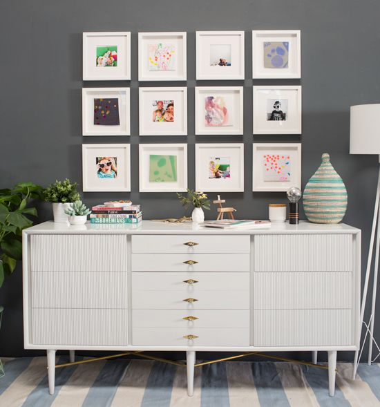 Love This Gallery Grid Of Family Photos And Kids Drawings From Get The Look  For Yourself By Framing 8 Or 12 Pieces In The Same Sized Frame.