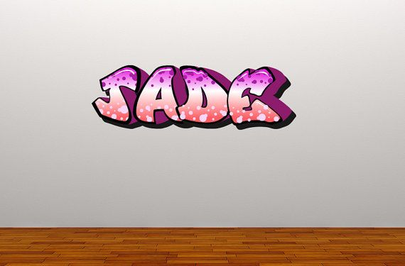 Personalised Graffiti Pink Purple Wall Sticker    Available in 3 Sizes:    Small - 60cm  Medium - 100cm  Large - 150cm    The height of the stickers varies depending on the amount of letters in the name.    Please send us a note at the checkout or a message with the name you would like.    Our Wall Stickers are made from quality vinyl and come ready to apply on application tape.    Wall Stickers are becoming a very popular way to decorate and personalise your home, they are easy to apply and…