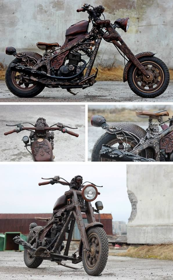 Steampunk Tendencies | Wood Carved Motorbike #Woodwork #Design #Motorbike