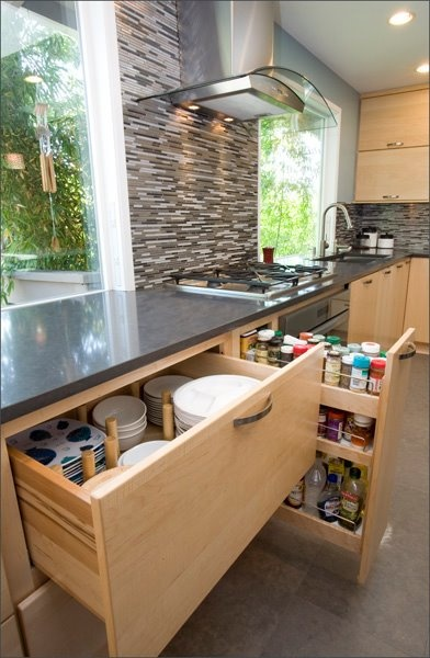 It is getting more common but I love great storage.: Kitchens, Organization, Dish Drawer, Cabinet, House, Kitchen Ideas, Storage