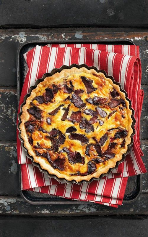 Biltong and cheddar quiche