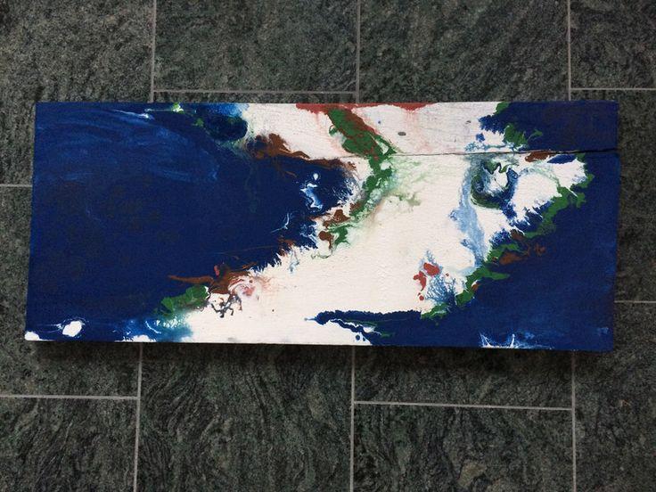 Acrylmalerei - Luftbild auf Holz, Arktis, abstrakte Landschaft - ein Designerstück von Ruvido bei DaWanda