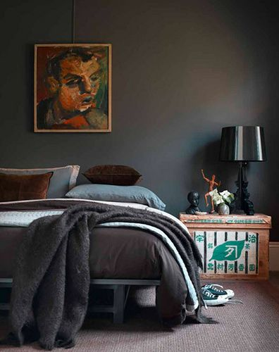 Dark grey wall with dusty blue accents and neutral fixtures grey bedroom decorbedroom