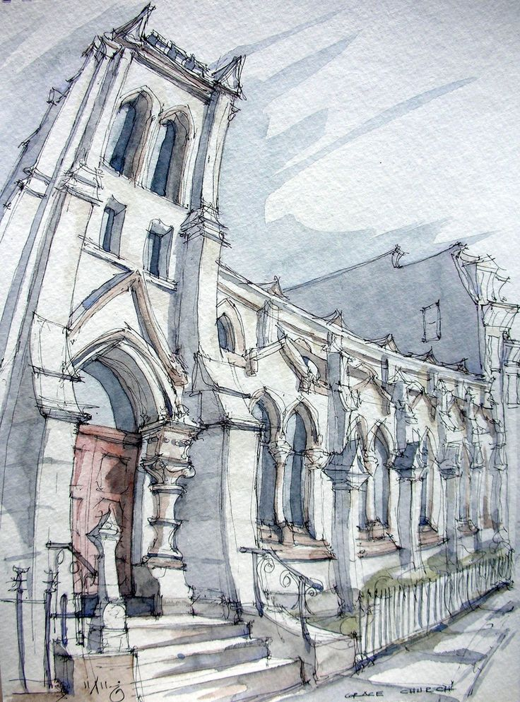 Grace Church - James Anzalone // Liberal distortion on this one to fit it all in the frame. Ink and watercolor freehand sketch on location in Park Slope, Brooklyn. St Johns Place and 7th Avenue.
