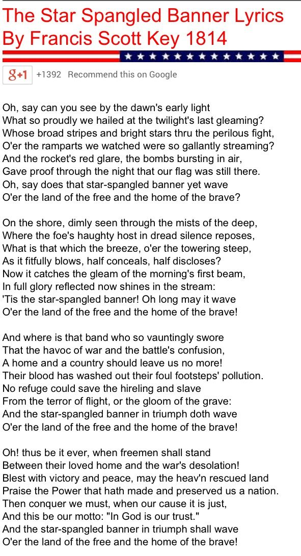Lyric star banner lyrics : 11 best SONGS images on Pinterest | Freedom, Liberty and Lyrics