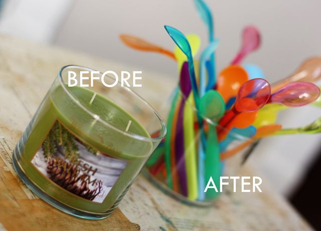 SAVE those lovely glass candle jars -- Aunt Peaches has the tutorial for how to get every last bit of wax out, easily. Doing this tonight