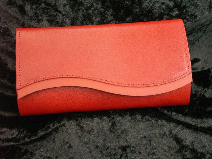 Red satin leather with red trim