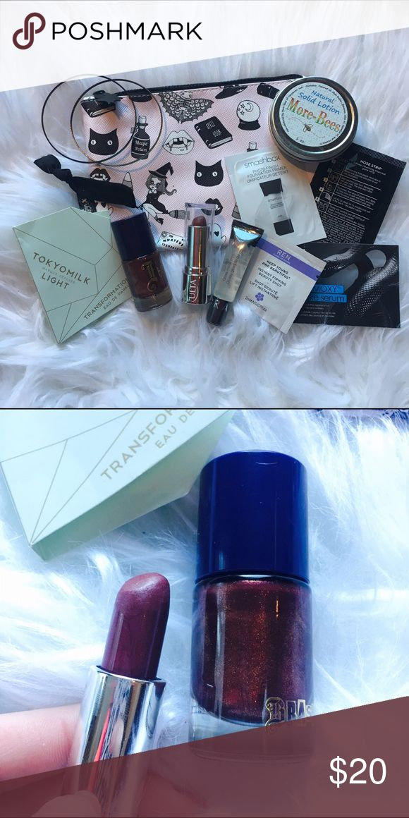 The Vixie Makeup Set Includes: pink makeup bag, 2 Bangles, black hair tie, Tokyo milk travel perfume, brash bronze nail polish, ulta deep berry lipstick swatched, Sephora lip gloss, Bees was solid hand lotion,boots nose strip, smashbox primer, Ren beauty shot face cream & glamoxy snake serum. All brand new. 13 items.  • No Trades. Price is firm. 15% off of bundles of 3 or more • Sephora Makeup