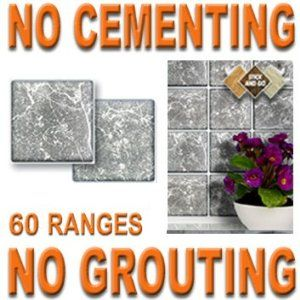 GREY MARBLE: Box of 18 tiles 4x4 SOLID PEEL & STICK ON TILES apply over tiles or onto the wall ! by STICK AND GO TILES. $19.99. No Cementing. Covers 2 Sq.Ft. (0.2) per box. No Grouting. 18 tiles per box. STICK AND GO TILES are self adhesive wall tiles that look and feel just like ceramic tiles - but there is NO CEMENTING & NO GROUTING required ! Stick and Go tiles aren't just for walls, they can be used on any flat, clean surface and are perfect for tiling any area qu...