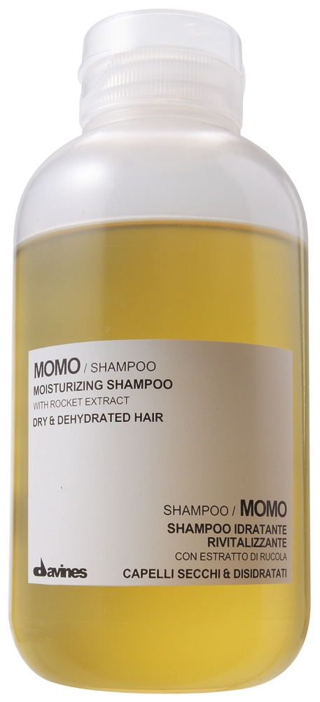 MOMO Moisturizing Shampoo.    Its particularly rich formula has been created to deeply moisturize dry, dehydrated hair, making it soft, silky and full of body without weighing it down.    http://www.davines.com/en/products/view/dehc-momo-shampoo