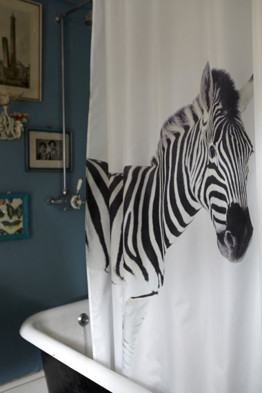 Zebra Shower Curtain For Dylans Bathroom