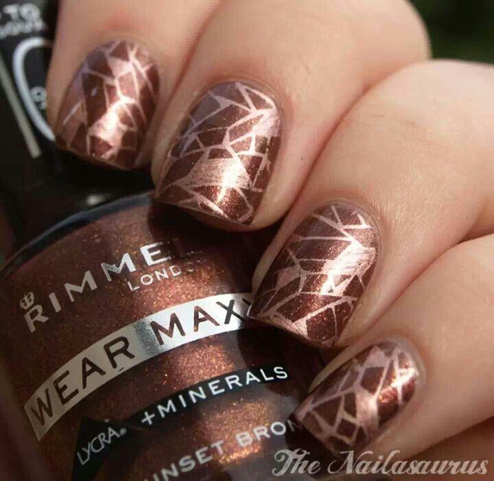 brown - bronze nail design