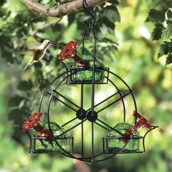 FERRIS WHEEL Green Glass Hummingbird Feeder Parasol 3 ...