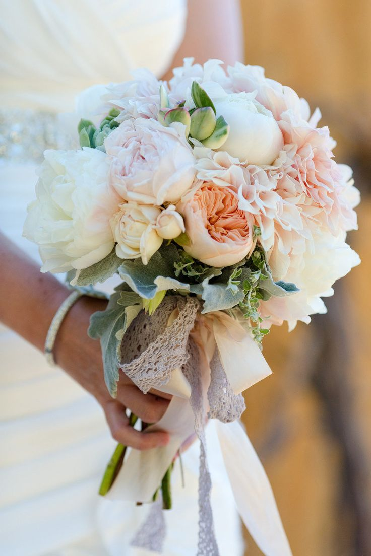 The fluffiest pink and peachy peony + garden rose bouquet! Photography by Molly, MEF Photography / mefphoto.com, Event and Graphic Design by KT Designs / facebook.com/ktdesigns.likeme, Floral Design by Adornments Flowers / adornmentsflowers.com/