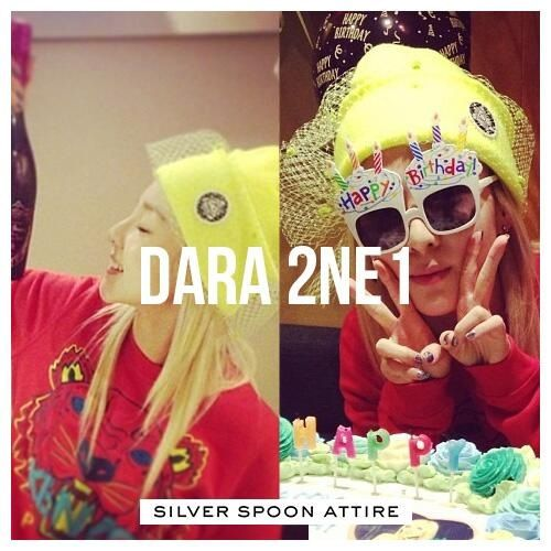 Dara 2 NE 1 in the mesh bow neon hat