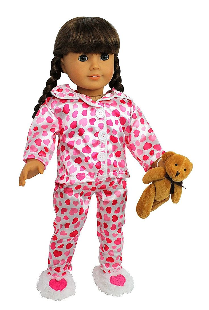"Pajamas+Doll+Clothes+for+American+Girl+Dolls:+""Hearts+and+Kisses""+Pajamas+Outfit+$15.95"