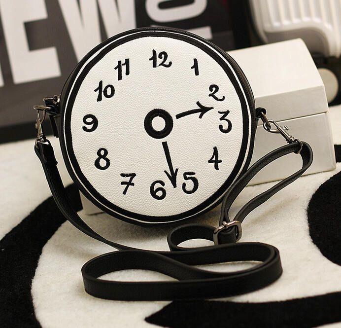 Novo Design Circular de impressão relógios de personalidade das mulheres de couro pu ombro mensageiro saco de embreagem A379 em Bolsas Atravessadas de Bagagem & Bags no AliExpress.com | Alibaba Group